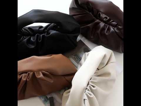 ~潮品聚落~2020年早春新款獨家定製手提大包牛皮羊角包大容量夾子百褶真皮餃子包-6色[KB191216-2]