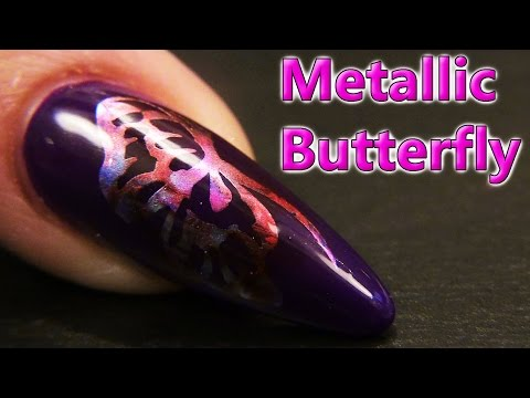 Metallic Butterfly Design Using Gel Polish