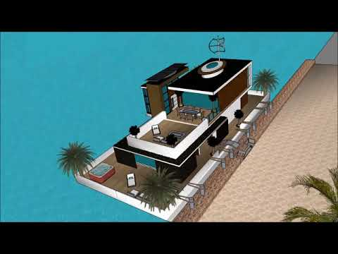 Futuristic Mansion floating on ecobarge in USA New York modern houseboat living expo essentials u t