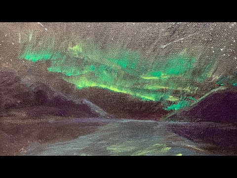 Aurora Borealis/Northern Lights/Landscape Painting/Reflections/Daily Art/Day#028 365days 4K Video