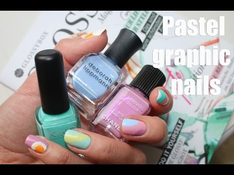 Graphic pastel nails ♡ FREEHAND nail design tutorial