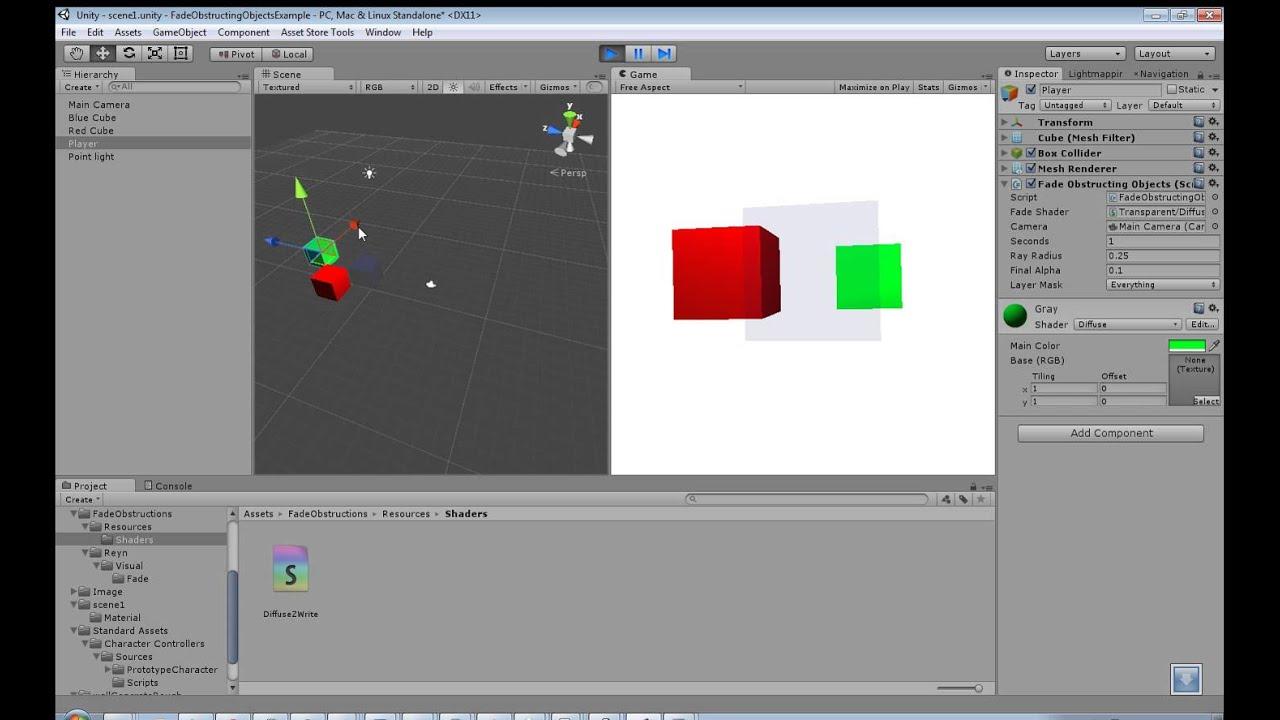 Unity3D Script Asset - Fade Obstructions