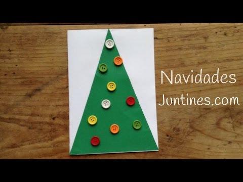 Tarjetas navideñas originales, un árbol decorado con botones