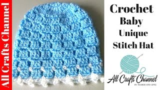Repeat youtube video Crochet Easy and unique stitch hat tutorial