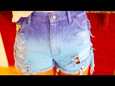 Дырки на джинсовых шортах своими руками