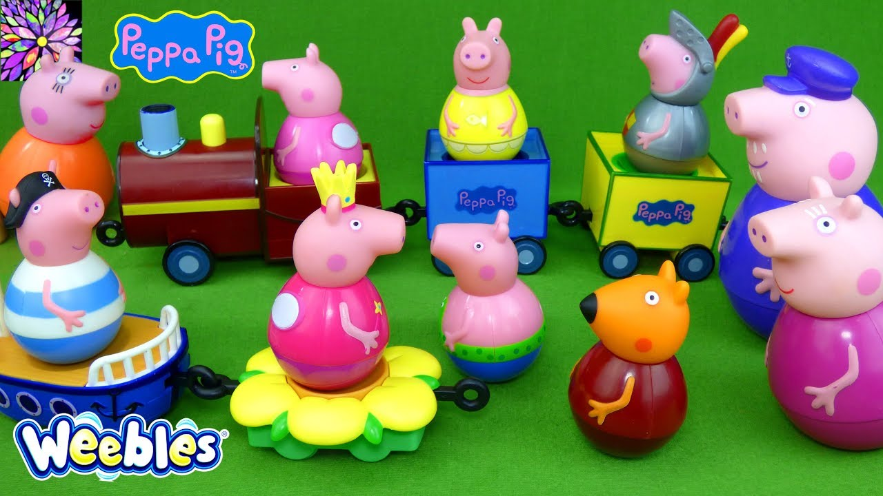 LOTS of Peppa Pig Weebles Toys Mummy Granny Pig George Red Car Train  Princess Fairy Playset Toys