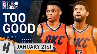 Russell Westbrook & Paul George SICK Highlights Thunder vs Knicks 2019.01.21 - 31 Pts for PG