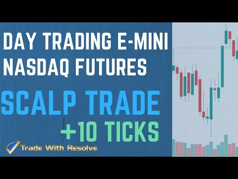 Live Day Trading Futures for Beginners: Scalp Trading E-min Nasdaq Futures for 10 Ticks