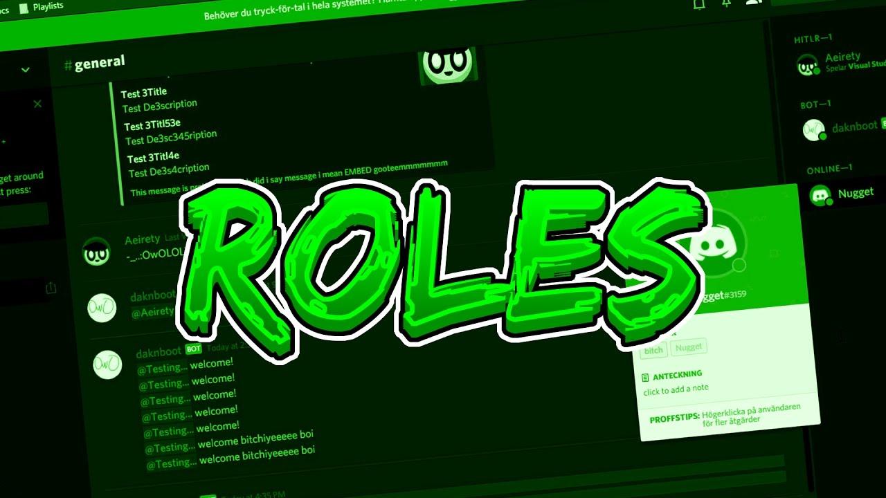 ROLES   Discord Bot Coding Tutorial #4 (Node JS & Discord JS)