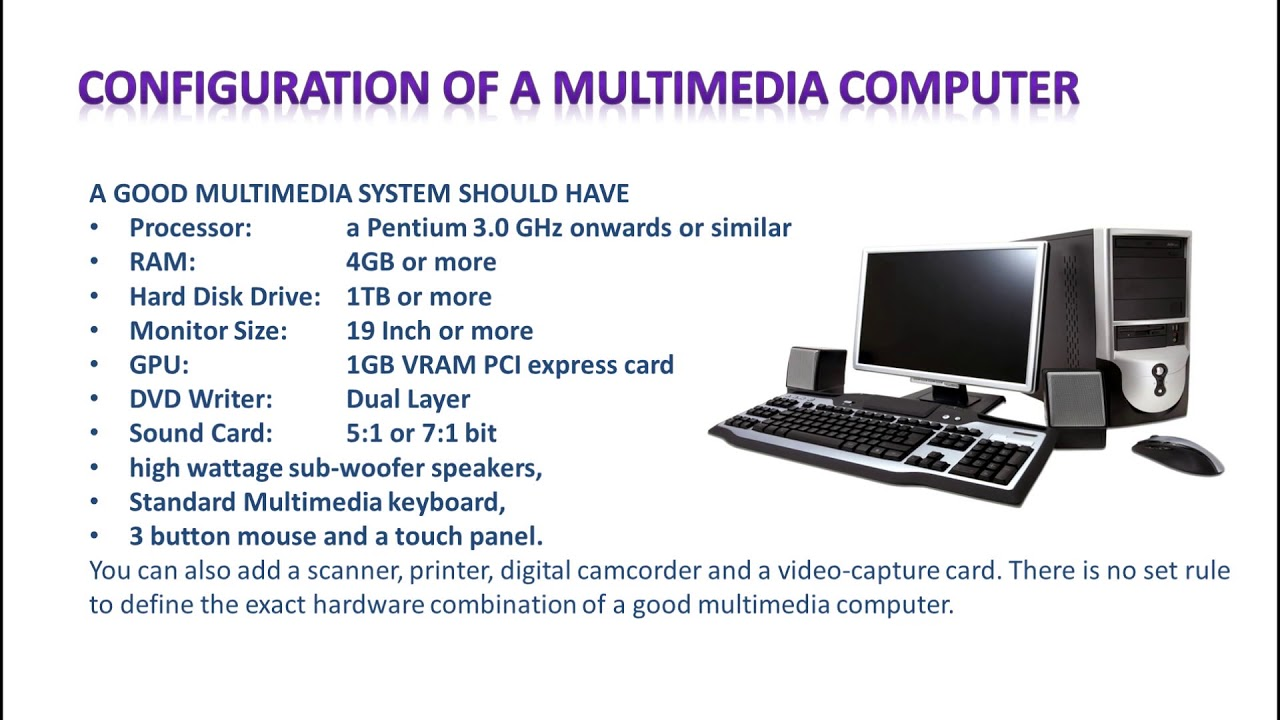 HARDWARE SOFTWARE REQUIREMENT IN MULTIMEDIA YouTube - Hardware and software requirements