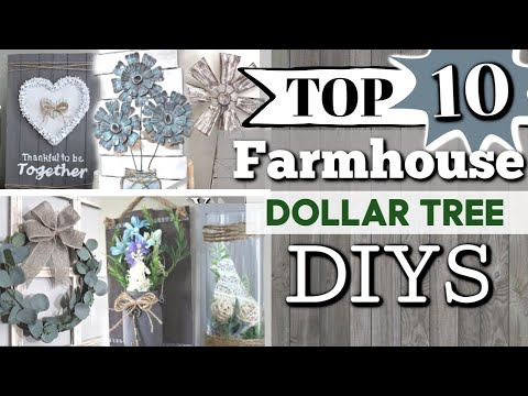 TOP 10 Dollar Tree DIYS | Best Farmhouse Dollar Tree DIYS | DIY Farmhouse Decor | Krafts By Katelyn