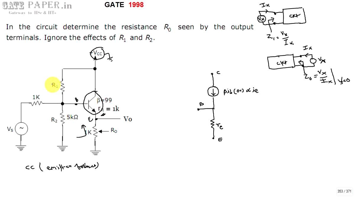 gate 1998 ece output impedance of emitter follower common collector rh youtube com