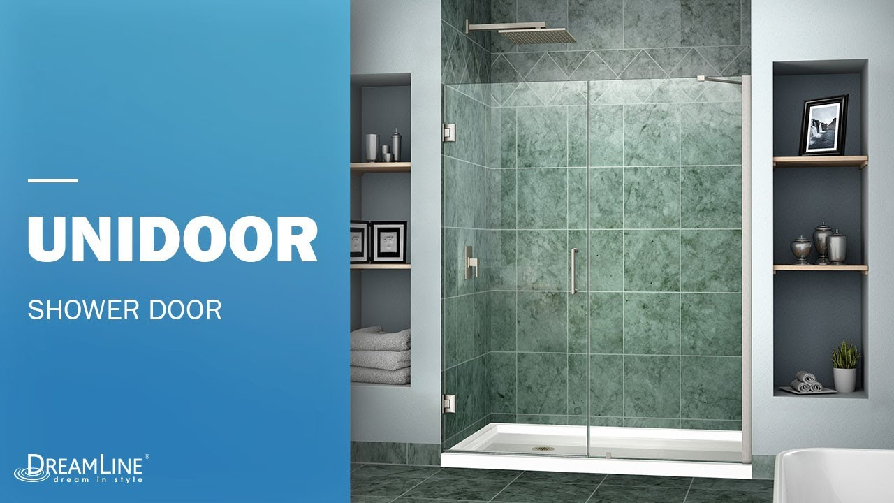 DreamLine Unidoor Frameless Shower Door | Hinged Opening - YouTube