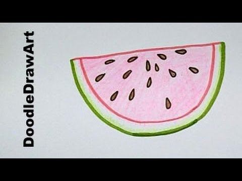 Drawing how to draw a watermelon easy step by step lesson for kids youtube