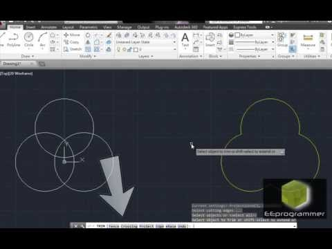AutoCAD 2014 Tutorial: Learn Trim and Circle Commands in 2 mins