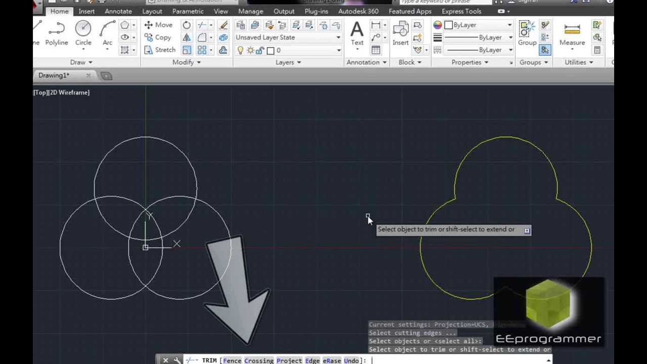 AutoCAD 2014 Tutorial: Learn Trim and Circle Commands in 2