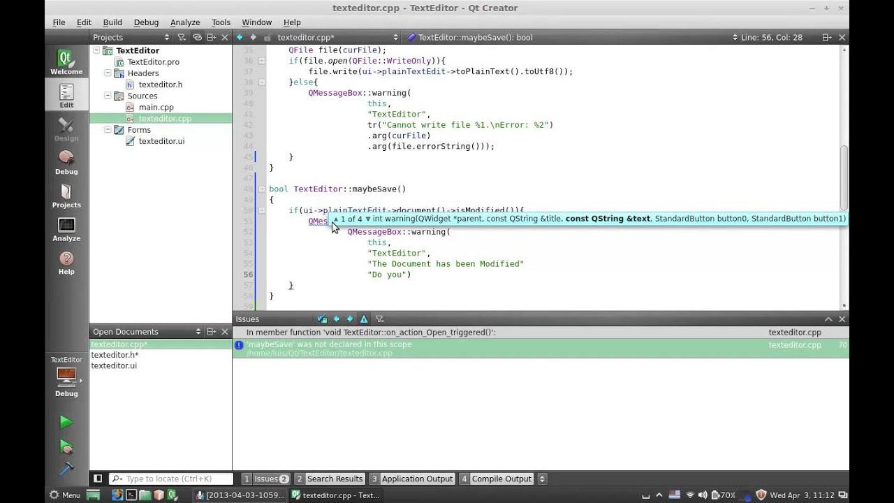 04 03 Guardar y Abrir Archivos - TextEditor - Qt C++