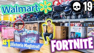 We did a SECRET ESCONDITE at WALMART to PLAY FORTNITE *they took us out*