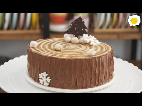 Mocha Stump cake chocolate coffee chiffon roll cake Bûche de noël chocolat cafe 摩卡树桩蛋糕巧克力咖啡戚风卷蛋糕