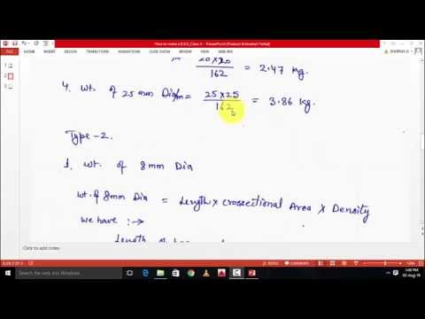 How to calculate weight of steel reinforcement.