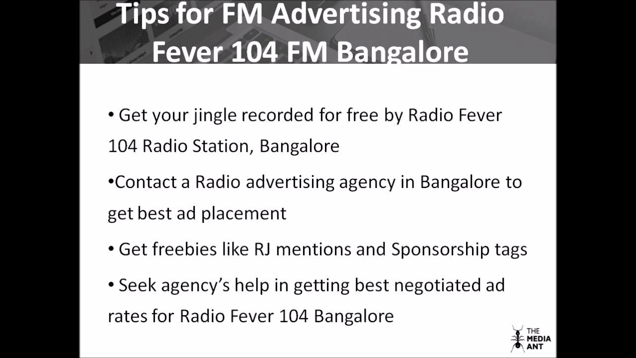 Details for Radio Fever FM 104 Bangalore advertising