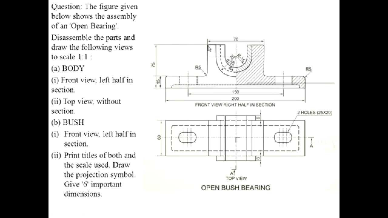 Cbse class xii engineering graphics open bearing assembly drawing