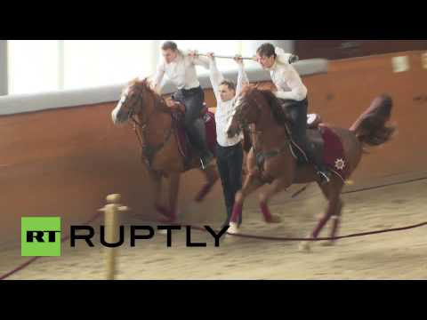 Russia: Cossack acrobats perform horseback stunts in Kremlin
