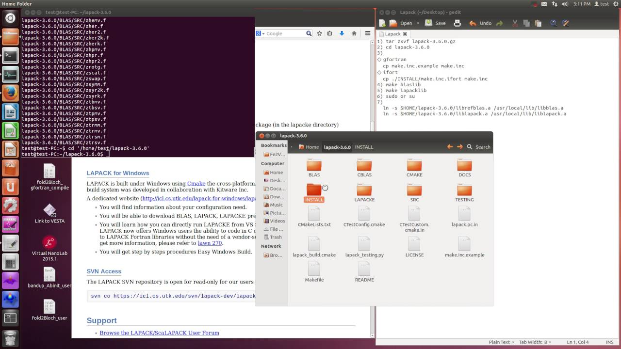 Lapack (download and setup, including Blas)
