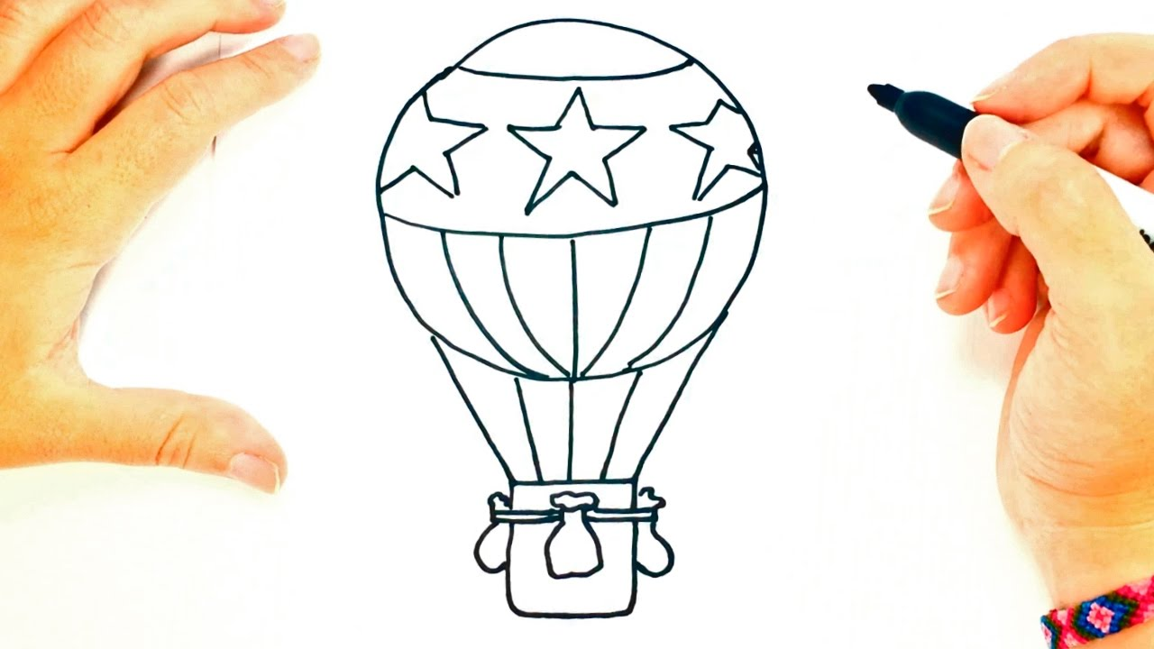 how to draw a hot air balloon hot air balloon easy draw tutorial