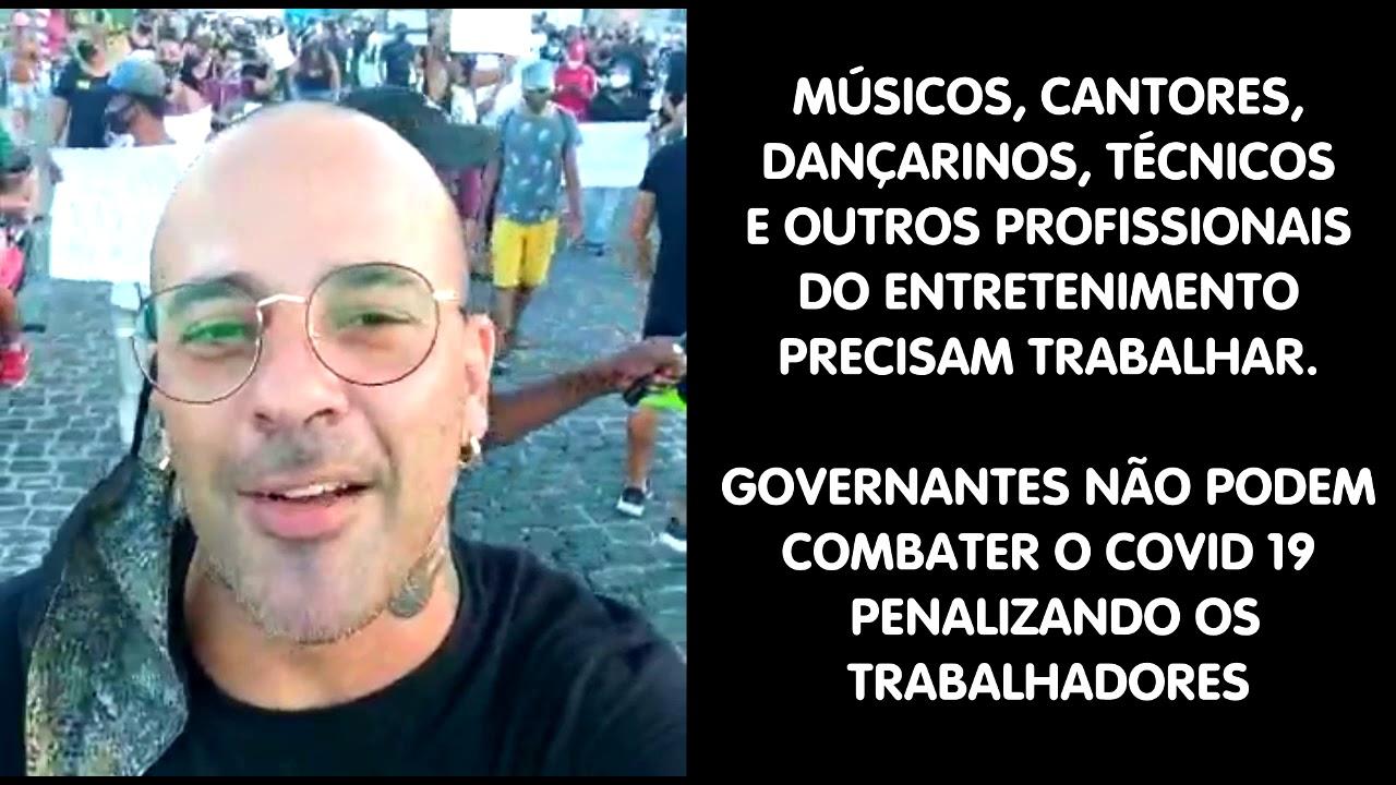 Músicos e trabalhadores de entretenimento protestam em Porto Seguro Bahia