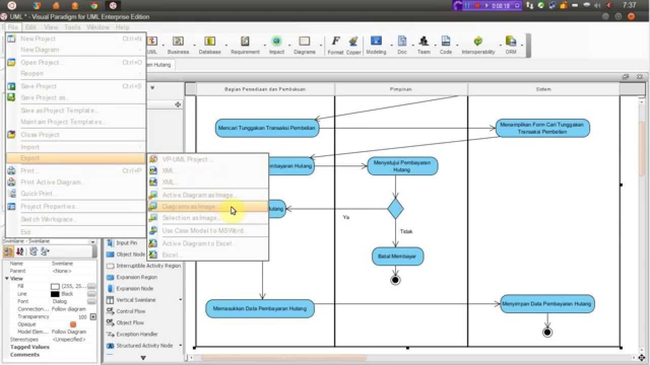 Tutorial Diagram Activity Menggunakan Visual Paradigm For Uml 8 0 Enterprise Edition Youtube