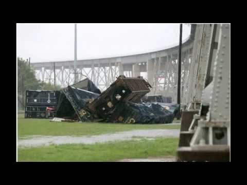 Powerful Storm Sends Freight Train Cars Crashing Off Louisiana Bridge