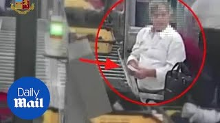 Thief caught STEALING cash at airport and then hiding it in TOILET!