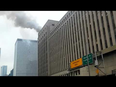 Chicago's old post office building on fire