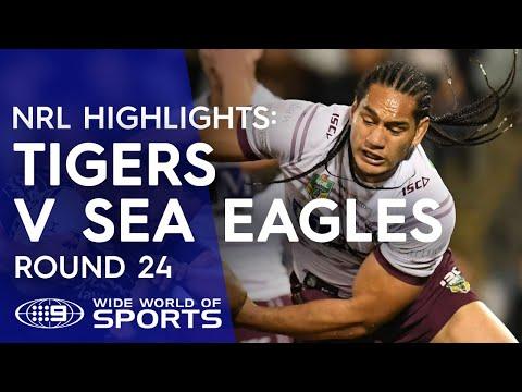 NRL Highlights: Wests Tigers v Manly Sea Eagles - Round 24