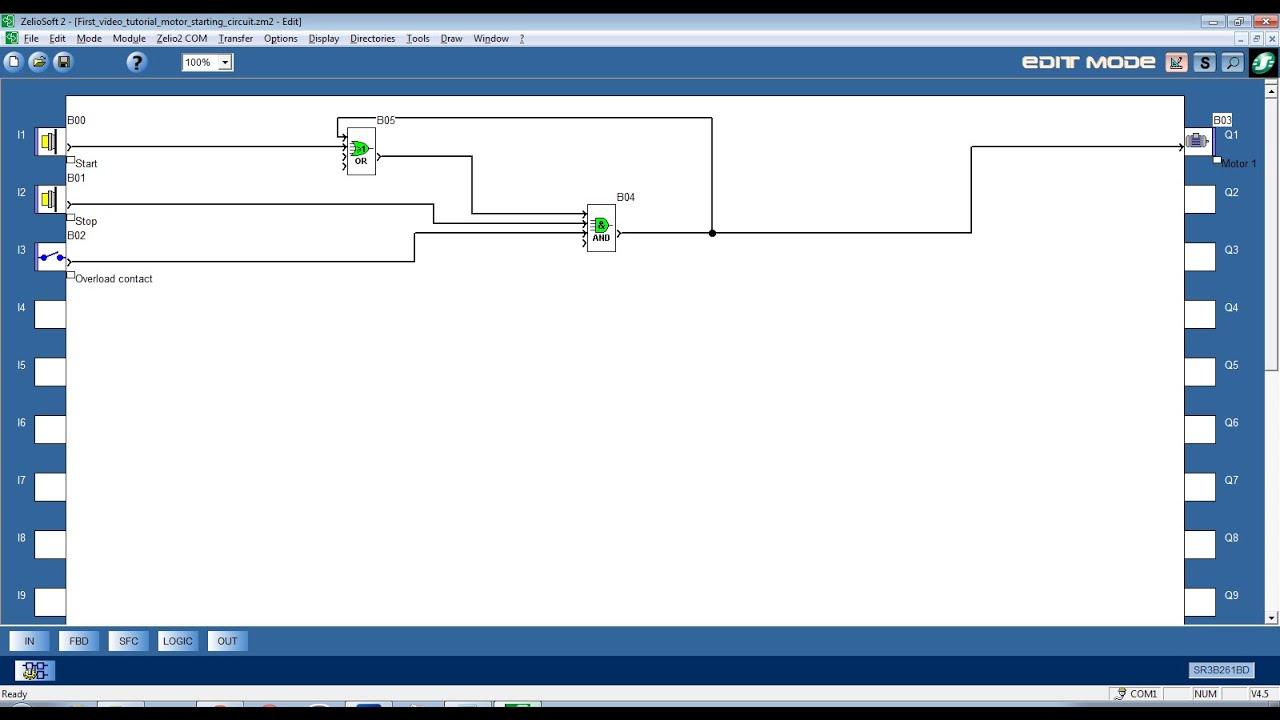 Zelio logic video tutorial #1 Simple FBD #1 DOL motor