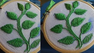 Hand Embroidery Leaf Stitches By Amma Arts