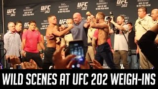 Conor McGregor and Nate Diaz face off amid wild scenes at UFC 202 weigh-ins