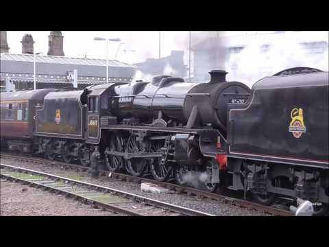 LMS Steam Loco's, 44871 + 45407 Stanier Black 5's, Double Headed Departure at Sheffield