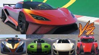 GTA 5 - Top Speed Drag Race (Overflod Tyrant vs. X80, Tezeract, Entity, 811, Vagner, Banshee, etc.)