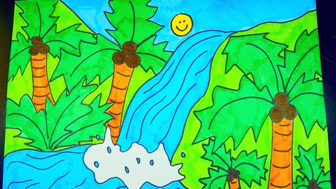 How To Draw A Waterfall Kids Coloring Video Youtube
