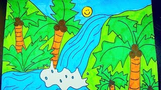 How To Draw A Waterfall ~ Kids Coloring Video