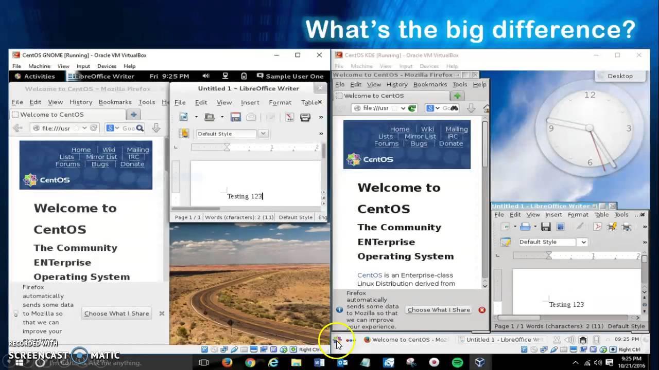 Gnome vs KDE CentOs 7