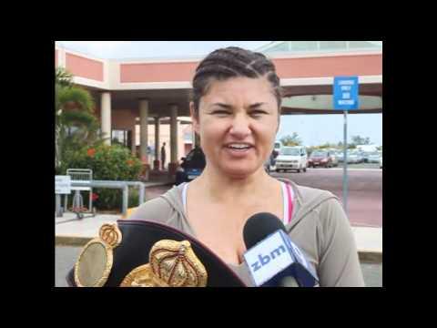 Acting Sports Minister Greets Theresa Perozzi At Bermuda Airport January 1 2011