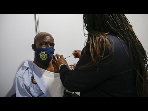 South African police officers received coronavirus vaccine in Soweto
