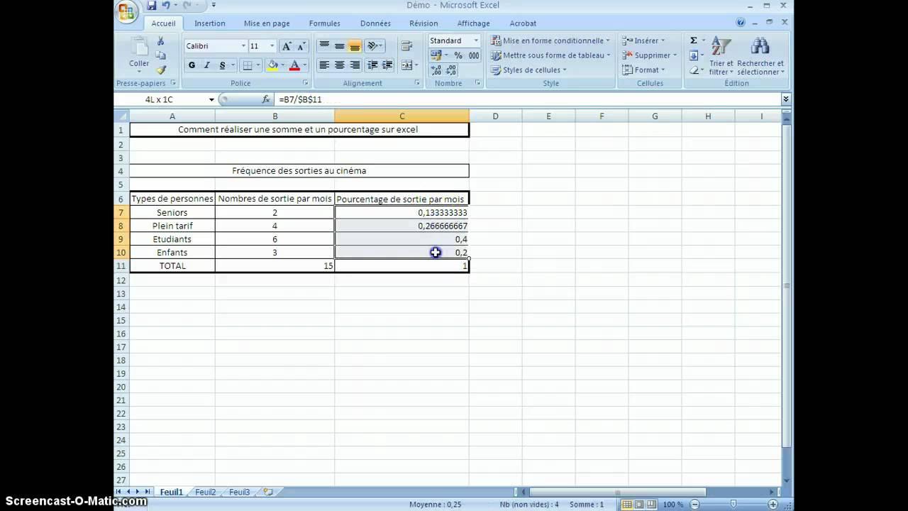 Comment Realiser Une Somme Et Un Pourcentage Sur Excel Youtube