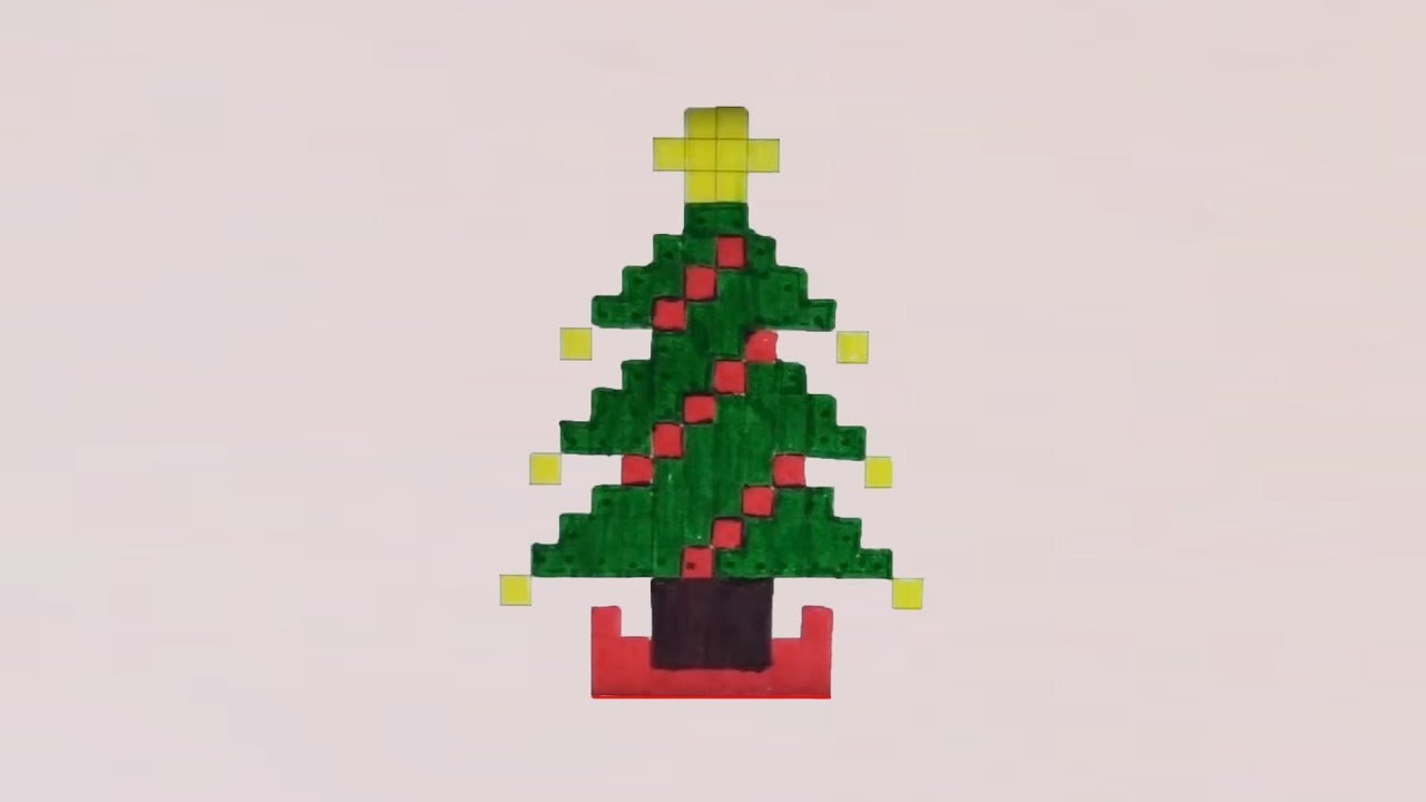 Comment dessiner un sapin de no l pixel art youtube - Comment decorer sapin de noel ...