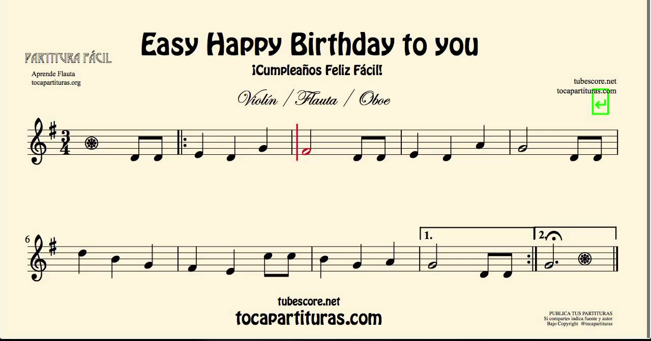 happy birthday letter notes for violin cumplea 241 os feliz partitura f 225 cil de viol 237 n flauta y oboe 16141