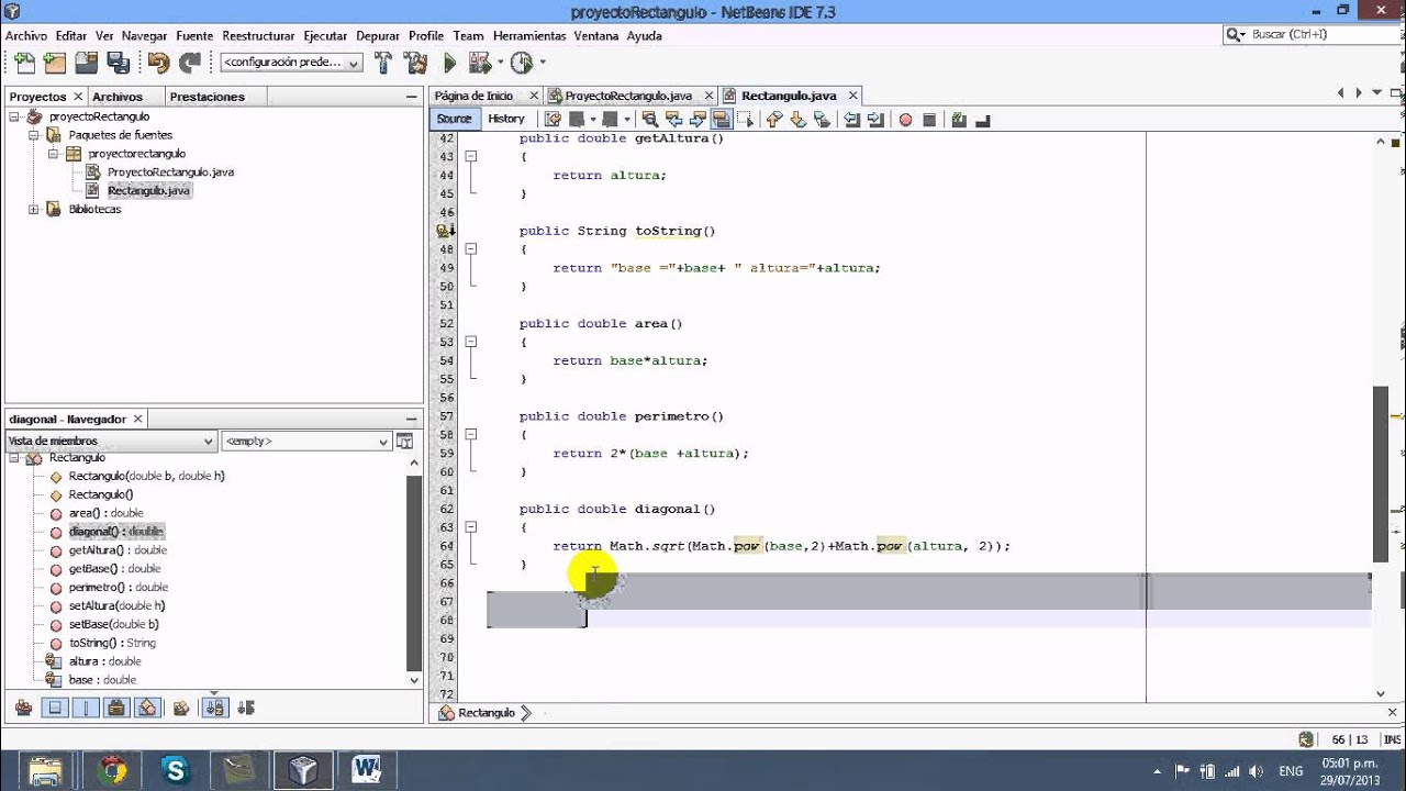 ClasesPOO Netbeans Rectangulo  YouTube