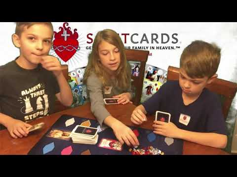 Playing the Saint Cards Game! Getting to know our family in Heaven - Trad Kids TV sponsored video